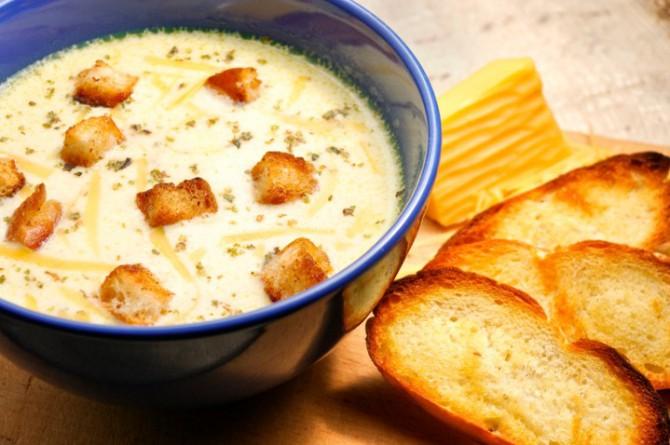 молочный суп с сухариками
