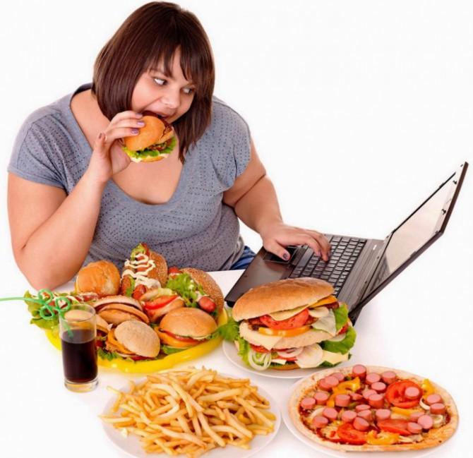 непраивльное питание, малоподвижный образ жизни, лишний вес