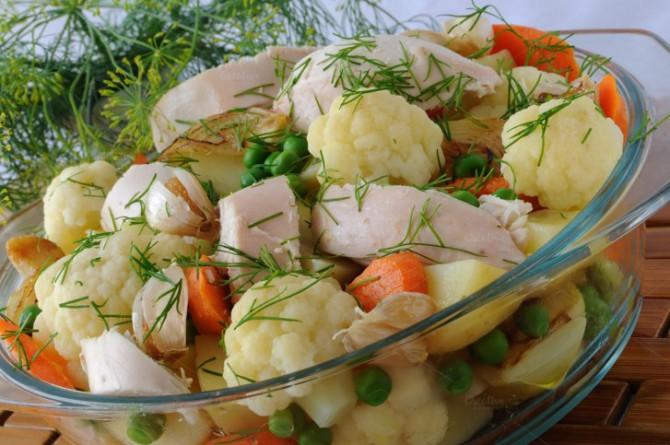 вареные овощи, мясо