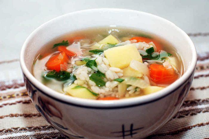 Диетический рисовый суп