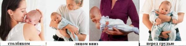 позы новорожденного, если срыгивает