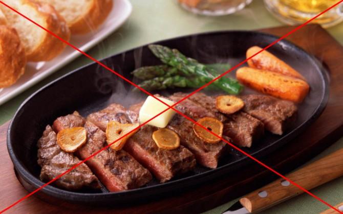 запрещено жаренное острое мясо
