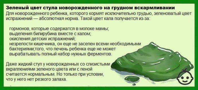 зеленый стул новорожденного